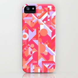 GEOMETRY SHAPES PATTERN PRINT (WARM RED LAVENDER COLOR SCHEME) iPhone Case