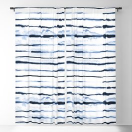 Electric Ink Navy Stripes Blackout Curtain
