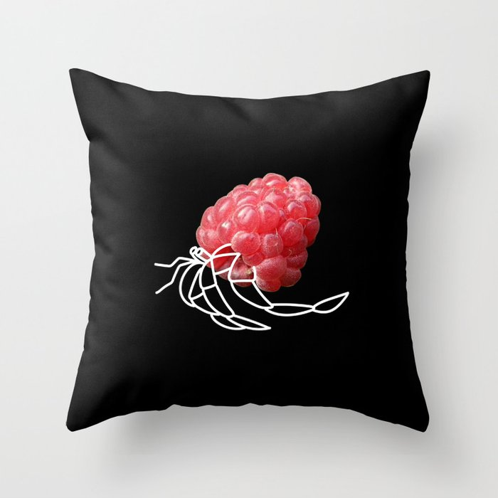 Raspberry Hermit Crab Throw Pillow