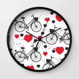 seamless pattern black bike and red heart on white background. Vector illustration Wall Clock
