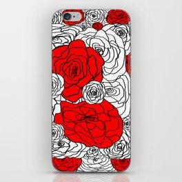 White & Red Rose Bush iPhone Skin