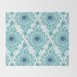 Mint and Teal Boho Nature Mandala Throw Blanket