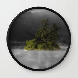Foggy Morning on The Lake Wall Clock