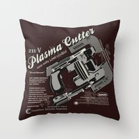 dead space Throw Pillows featuring Dead Space - Plasma Cutter by CaptainLaserBeam