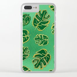 Botanical Leaves Green Clear iPhone Case