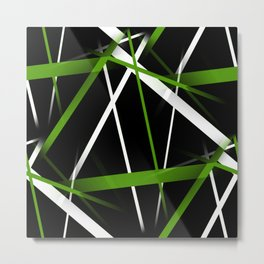 Seamless Grass Green and White Stripes on A Black Background Metal Print