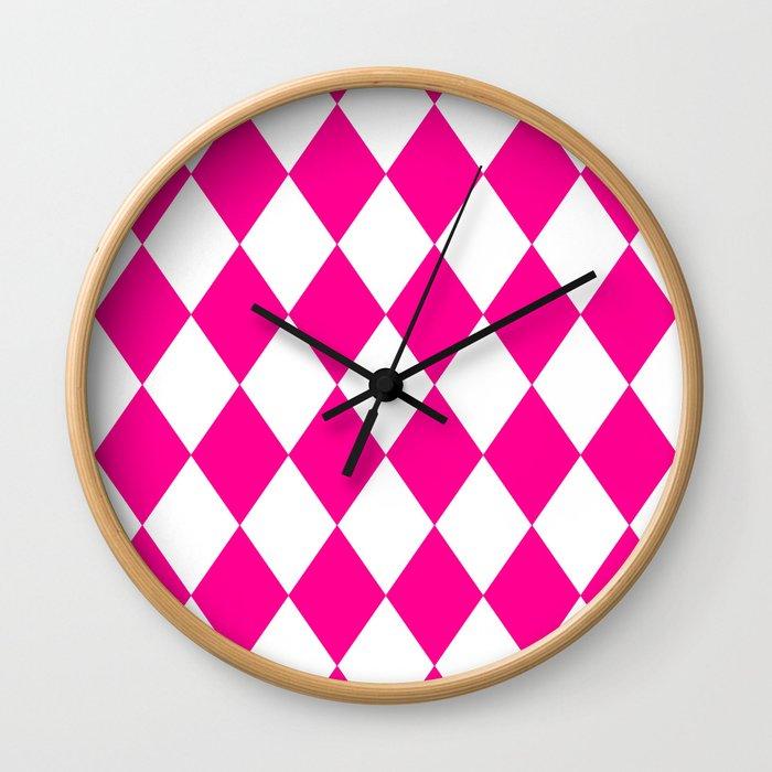 Diamonds (Magenta/White) Wall Clock