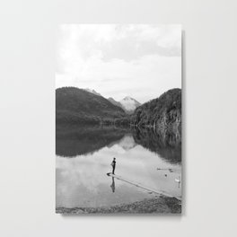 Mountain Reflection with woman Metal Print