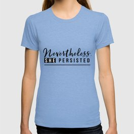 She persisted Black & white T-shirt