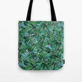 Tropical Palm Tree Leaf Pattern - Purple BG Tote Bag