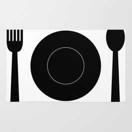 cutlery with plate Rug