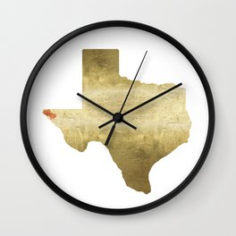 el paso hearts texas map gold foil Wall Clock