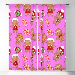 Cute decorative hygge seamless pink pattern. Happy gingerbread men and sweet xmas caramel chocolate Blackout Curtain