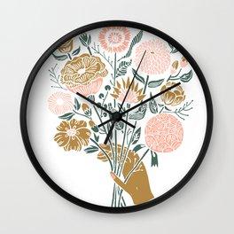 Bouquet - linocut floral art, flower art print, botanical art print, linocut, Wall Clock