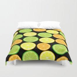 Citrus Slices on Black Duvet Cover