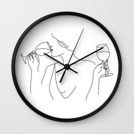 Double Fisting Wine Wall Clock