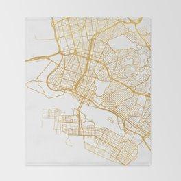 OAKLAND CALIFORNIA CITY STREET MAP ART Throw Blanket