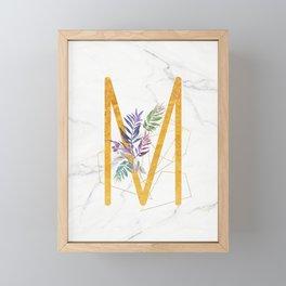 Modern glamorous personalized gold initial letter M, Custom initial name monogram gold alphabet prin Framed Mini Art Print
