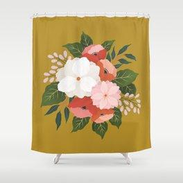 Florals on Mustard Shower Curtain