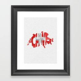 Schweiz / Switzerland Typographic Flag / Map Art Framed Art Print