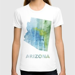 Arizona map outline Blue green colored wash drawing T-shirt