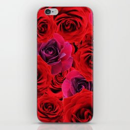 Deep Red and Purple Roses iPhone Skin