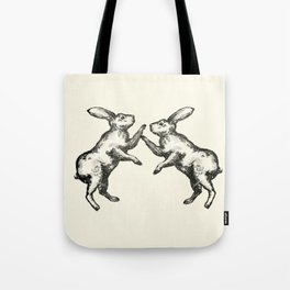 Dueling Rabbits Tote Bag