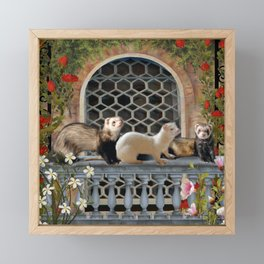 Ferrets Out on the Balcony Framed Mini Art Print