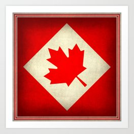 Canadian flag, vintage treated edition in square format to suit pillows, duvets, shower.....etc Art Print