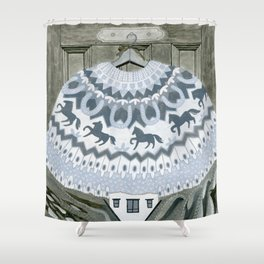 Sweater with Horses Shower Curtain