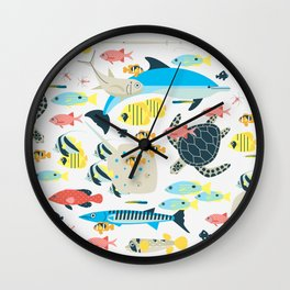 Coral reef animals Wall Clock