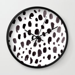 Dalmation Spots Painted Watercolor Pattern Wall Clock