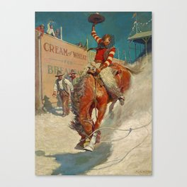 """N C Wyeth Western Painting """"The Rodeo"""" Canvas Print"""