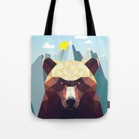 mountain Tote Bags featuring Bear Mountain  by Davies Babies