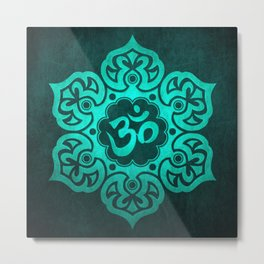 Vintage Scratched Teal Blue Lotus Flower Yoga Om Metal Print