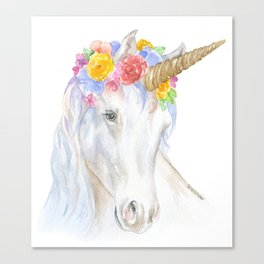 Unicorn Watercolor Painting Canvas Print