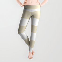Horizontal Stripes - White and Pearl Brown Leggings