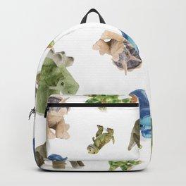 Dinosaur Blue Gree Brown Pattern Backpack