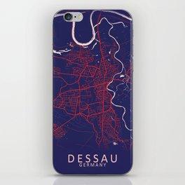 Dessau, Germany, Blue, White, City, Map iPhone Skin