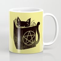 witchcraft Mugs featuring Witchcraft Cat by Tobe Fonseca