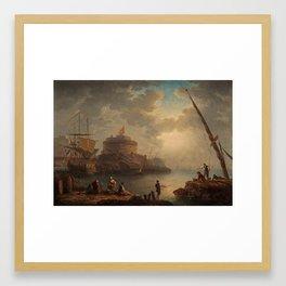 HARLES-FRANÇOIS GRENIER DE LA CROIX (KALLAD LACROIX DE MARSEILLE) ATTRIBUTED TO, FISHING AND SAILBOA Framed Art Print