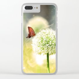 Allium fantasy flowers with butterfly Clear iPhone Case