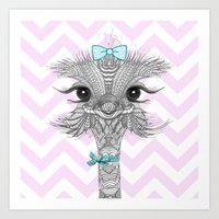 ostrich Art Prints featuring OsTRICH by Monika Strigel