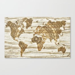 World map of wood Canvas Print