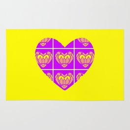 Purple and Yellow Patterns and a Heart Rug