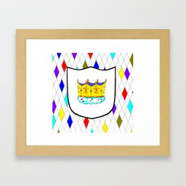 A Stained Glass Window with Shield and Crown Framed Art Print