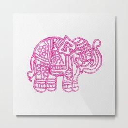 Pink Indian Woodblock Elephants Metal Print