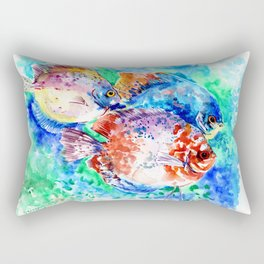 Underwater Scene Artwork, Discus Fish, Turquoise blue pink aquatic design Rectangular Pillow