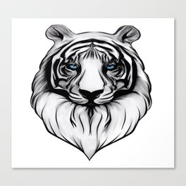 White Tiger with Blue Eyes Canvas Print