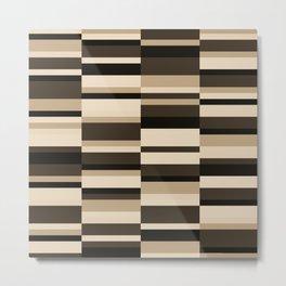 Color Block Stripes in Tan, Bisque, Taupe  Metal Print